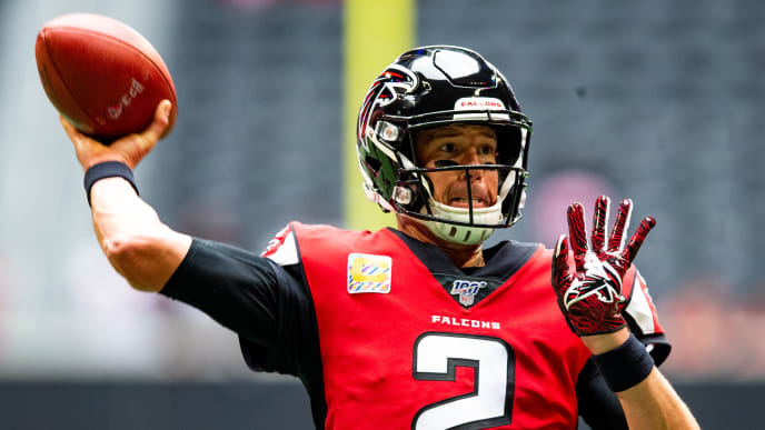 ATLANTA, GA - OCTOBER 20: Matt Ryan #2 of the Atlanta Falcons looks to pass prior to a game against the Los Angeles Rams at Mercedes-Benz Stadium on October 20, 2019 in Atlanta, Georgia. (Photo by Carmen Mandato/Getty Images)