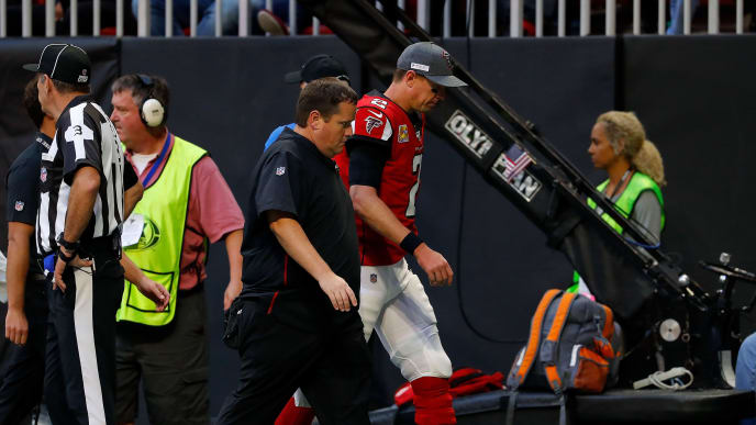 ATLANTA, GEORGIA - OCTOBER 20:  Matt Ryan #2 of the Atlanta Falcons walks to the locker room in the second half of the game against the Los Angeles Rams at Mercedes-Benz Stadium on October 20, 2019 in Atlanta, Georgia. (Photo by Kevin C. Cox/Getty Images)