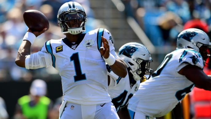 CHARLOTTE, NORTH CAROLINA - SEPTEMBER 08: Cam Newton #1 of the Carolina Panthers throws the ball in the third quarter during their game against the Los Angeles Rams at Bank of America Stadium on September 08, 2019 in Charlotte, North Carolina. (Photo by Jacob Kupferman/Getty Images)