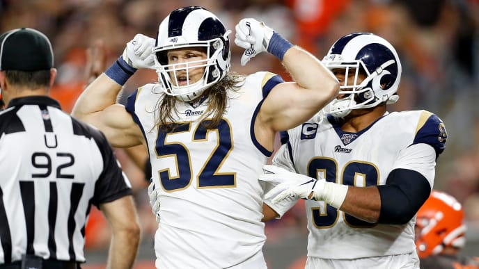 CLEVELAND, OH - SEPTEMBER 22:  Clay Matthews #52 of the Los Angeles Rams celebrates after sacking Baker Mayfield #6 of the Cleveland Browns during the fourth quarter at FirstEnergy Stadium on September 22, 2019 in Cleveland, Ohio. Los Angeles defeated Cleveland 20-13. (Photo by Kirk Irwin/Getty Images)