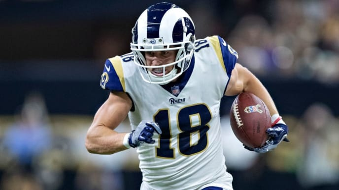 NEW ORLEANS, LA - NOVEMBER 4:  Cooper Kupp #18 of the Los Angeles Rams runs the ball after catching a pass during a game against the New Orleans Saints at Mercedes-Benz Superdome on November 4, 2018 in New Orleans, Louisiana.  The Saints defeated the Rams 45-35.  (Photo by Wesley Hitt/Getty Images)