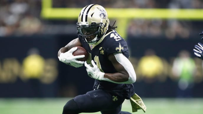 NEW ORLEANS, LA - NOVEMBER 04:  Alvin Kamara #41 of the New Orleans Saints carries the ball during the second quarter of the game against the Los Angeles Rams at Mercedes-Benz Superdome on November 4, 2018 in New Orleans, Louisiana.  (Photo by Wesley Hitt/Getty Images)