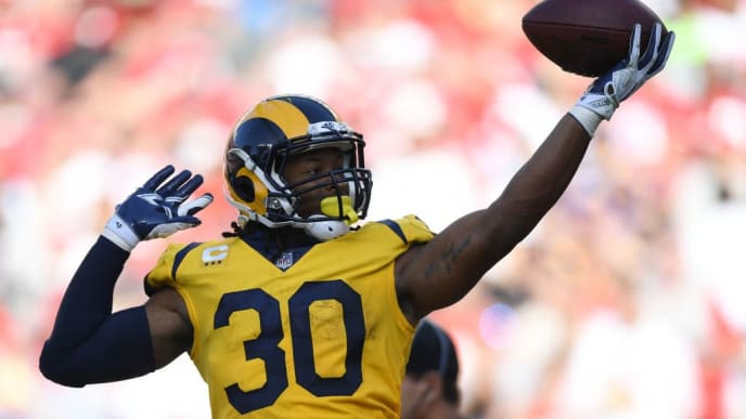 SANTA CLARA, CA - OCTOBER 21: Todd Gurley #30 of the Los Angeles Rams celebrates after a touchdown against the San Francisco 49ers during their NFL game at Levi's Stadium on October 21, 2018 in Santa Clara, California. (Photo by Thearon W. Henderson/Getty Images)