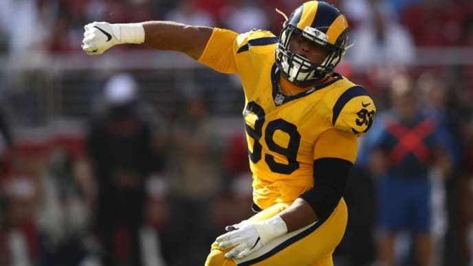 SANTA CLARA, CA - OCTOBER 21: Aaron Donald #99 of the Los Angeles Rams reacts after a sack of C.J. Beathard #3 of the San Francisco 49ers during their NFL game at Levi's Stadium on October 21, 2018 in Santa Clara, California. (Photo by Ezra Shaw/Getty Images)