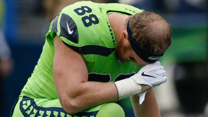 SEATTLE, WA - OCTOBER 03:  Tight end Will Dissly #88 of the Seattle Seahawks pauses in the end zone prior to the game against the Los Angeles Rams at CenturyLink Field on October 3, 2019 in Seattle, Washington.  (Photo by Otto Greule Jr/Getty Images)