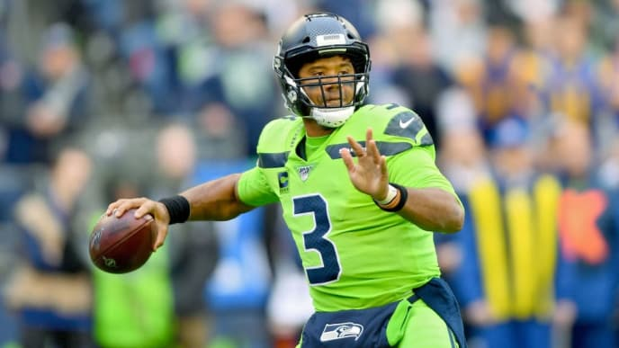 SEATTLE, WASHINGTON - OCTOBER 03: Russell Wilson #3 of the Seattle Seahawks passes the ball during the game against the Los Angeles Rams at CenturyLink Field on October 03, 2019 in Seattle, Washington. (Photo by Alika Jenner/Getty Images)