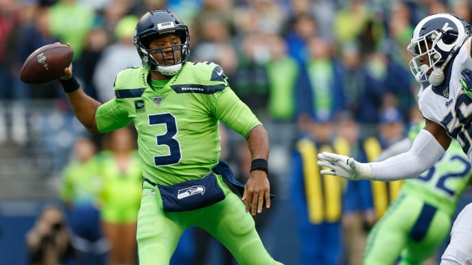 SEATTLE, WA - OCTOBER 03:  Quarterback Russell Wilson #3 of the Seattle Seahawks passes against the Los Angeles Rams at CenturyLink Field on October 3, 2019 in Seattle, Washington.  (Photo by Otto Greule Jr/Getty Images)
