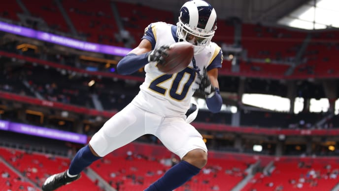 ATLANTA, GA - OCTOBER 20: Jalen Ramsey #20 of the Los Angeles Rams warms up prior to an NFL game against the Atlanta Falcons at Mercedes-Benz Stadium on October 20, 2019 in Atlanta, Georgia. (Photo by Todd Kirkland/Getty Images)