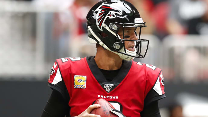 ATLANTA, GA - OCTOBER 20: Matt Ryan #2 of the Atlanta Falcons drops back to pass in the first half of an NFL game against the Los Angeles Rams at Mercedes-Benz Stadium on October 20, 2019 in Atlanta, Georgia. (Photo by Todd Kirkland/Getty Images)