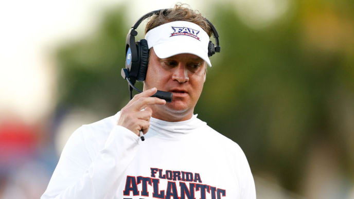 BOCA RATON, FL - OCTOBER 26:  Head coach Lane Kiffin of the Florida Atlantic Owls looks on against the Louisiana Tech Bulldogs during the first half at FAU Stadium on October 26, 2018 in Boca Raton, Florida.  (Photo by Michael Reaves/Getty Images)