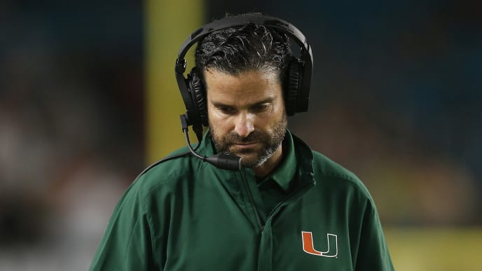 MIAMI, FLORIDA - NOVEMBER 09: Head coach Manny Diaz of the Miami Hurricanes reacts against the Louisville Cardinals during the second half at Hard Rock Stadium on November 09, 2019 in Miami, Florida. (Photo by Michael Reaves/Getty Images)