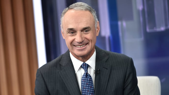 "NEW YORK, NEW YORK - SEPTEMBER 30: (EXCLUSIVE COVERAGE) MLB Commissioner Rob Manfred visits ""Mornings With Maria"" hosted by Maria Bartiromo at Fox Business Network Studios on September 30, 2019 in New York City. (Photo by Steven Ferdman/Getty Images)"