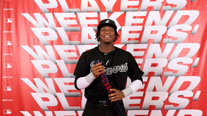 NEW YORK, NEW YORK - AUGUST 23:  Ronald Acuna Jr. #13 of the Atlanta Braves poses for a portrait during the MLB Players Weekend at Citi Field on August 23, 2019 in the Flushing neighborhood of the Queens borough of New York City.Teams are wearing special color schemed uniforms with players choosing nicknames to display for Players' Weekend. (Photo by Elsa/Getty Images)
