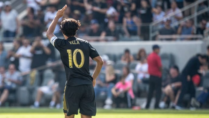 LOS ANGELES, CA - OCTOBER 6: Carlos Vela #10 of Los Angeles FC celebrates his 3rd goal during Los Angeles FC's MLS match against Sporting Kansas City at the Banc of California Stadium on October 6, 2019 in Los Angeles, California. Los Angeles FC won the match 3-1 (Photo by Shaun Clark/Getty Images)