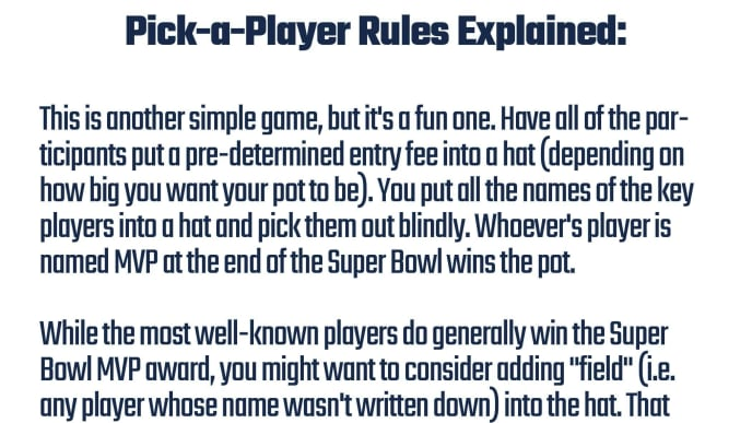 Printable rules for Pick-A-Player Super Bowl MVP game.
