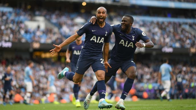 MANCHESTER, ENGLAND - AUGUST 17:  Lucas Moura of Tottenham Hotspur celebrates after scoring during the Premier League match between Manchester City and Tottenham Hotspur at Etihad Stadium on August 17, 2019 in Manchester, United Kingdom. (Photo by Shaun Botterill/Getty Images)