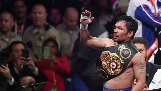 LAS VEGAS, NEVADA - JULY 20:  Manny Pacquiao celebrates his split-decision victory over Keith Thurman in their WBA welterweight title fight at MGM Grand Garden Arena on July 20, 2019 in Las Vegas, Nevada.  (Photo by Ethan Miller/Getty Images)