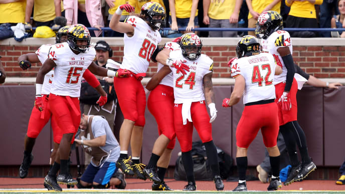ANN ARBOR, MI - OCTOBER 06: Ty Johnson #24 of the Maryland Terrapins celebrates a first half kickoff return for a touchdown with teammates while playing the Michigan Wolverines on October 6, 2018 at Michigan Stadium in Ann Arbor, Michigan. Michigan won the game 42-12. (Photo by Gregory Shamus/Getty Images)