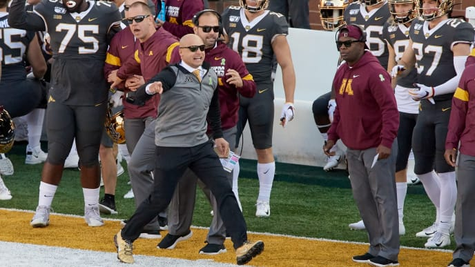 MINNEAPOLIS, MINNESOTA - OCTOBER 26: Head coach P.J. Fleck of the Minnesota Gophers reacts during the game against the Maryland Terrapins at TCF Bank Stadium on October 26, 2019 in Minneapolis, Minnesota. The Gophers defeated the Terrapins 52-10. (Photo by Hannah Foslien/Getty Images)