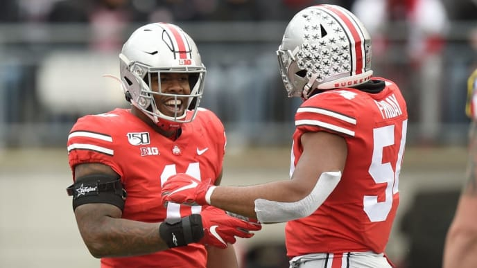 COLUMBUS, OH - NOVEMBER 09:  Tyreke Smith #11 of the Ohio State Buckeyes celebrates during the game against the Maryland Terrapins at Ohio Stadium on November 9, 2019 in Columbus, Ohio.   (Photo by G Fiume/Maryland Terrapins/Getty Images)