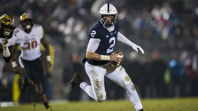 STATE COLLEGE, PA - NOVEMBER 24: Tommy Stevens #2 of the Penn State Nittany Lions rushes with the ball against the Maryland Terrapins during the second half at Beaver Stadium on November 24, 2018 in State College, Pennsylvania.  (Photo by Scott Taetsch/Getty Images)