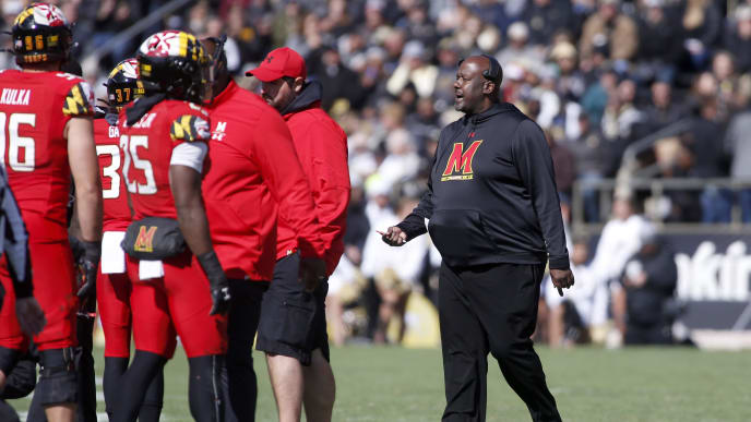 WEST LAFAYETTE, INDIANA - OCTOBER 12: Head coach Michael Locksley of the Maryland Terrapins talks to his team in the game against the Purdue Boilermakers at Ross-Ade Stadium on October 12, 2019 in West Lafayette, Indiana. (Photo by Justin Casterline/Getty Images)