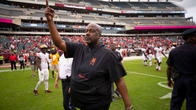 PHILADELPHIA, PA - SEPTEMBER 14: Head coach Michael Locksley of the Maryland Terrapins points after the game against the Temple Owls at Lincoln Financial Field on September 14, 2019 in Philadelphia, Pennsylvania. (Photo by Mitchell Leff/Getty Images)