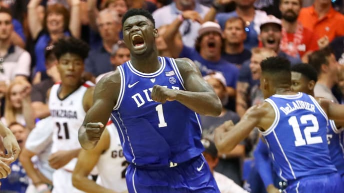 LAHAINA, HI - NOVEMBER 21: Zion Williamson #1 of the Duke Blue Devils clinches his fist and lets out a yell after funking the ball during the second half of the game against the Gonzaga Bulldogs at the Lahaina Civic Center on November 21, 2018 in Lahaina, Hawaii.  (Photo by Darryl Oumi/Getty Images)