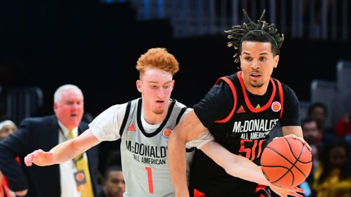 ATLANTA, GA - MARCH 27: Cole Anthony #50 of Oak Hill Academy in Virginia drives against Nico Mannion of Pinnacle High School in Arizona during the 2019 McDonald's High School Boys All-American Game on March 27, 2019 at State Farm Arena in Atlanta, Georgia. (Photo by Scott Cunningham/Getty Images)
