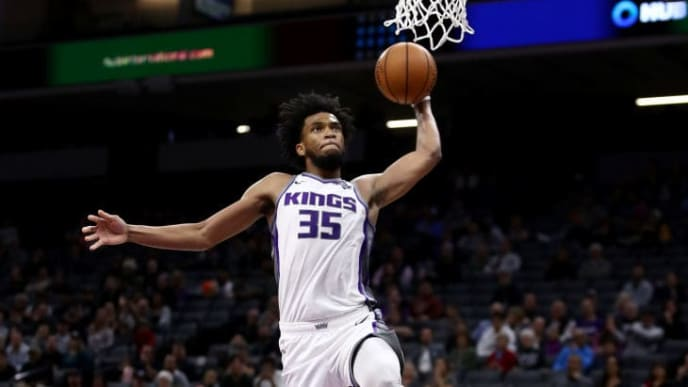 SACRAMENTO, CALIFORNIA - OCTOBER 16:  Marvin Bagley III #35 of the Sacramento Kings goes up for a dunk against the Melbourne United at Golden 1 Center on October 16, 2019 in Sacramento, California. NOTE TO USER: User expressly acknowledges and agrees that, by downloading and or using this photograph, User is consenting to the terms and conditions of the Getty Images License Agreement. (Photo by Ezra Shaw/Getty Images)