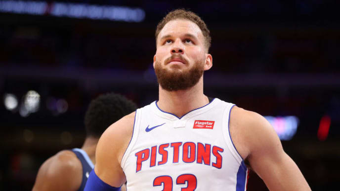 DETROIT, MICHIGAN - APRIL 09:  Blake Griffin #23 of the Detroit Pistons looks on while playing the Memphis Grizzlies at Little Caesars Arena on April 09, 2019 in Detroit, Michigan. NOTE TO USER: User expressly acknowledges and agrees that, by downloading and or using this photograph, User is consenting to the terms and conditions of the Getty Images License Agreement. (Photo by Gregory Shamus/Getty Images)