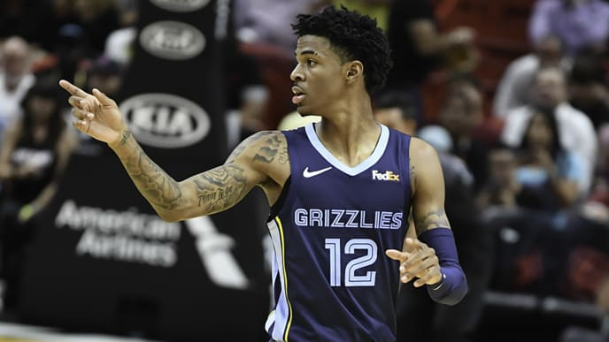 MIAMI, FLORIDA - OCTOBER 23:  Ja Morant #12 of the Memphis Grizzlies in action against the Miami Heat at American Airlines Arena on October 23, 2019 in Miami, Florida. NOTE TO USER: User expressly acknowledges and agrees that, by downloading and/or using this photograph, user is consenting to the terms and conditions of the Getty Images License Agreement.  (Photo by Ron Elkman/Sports Imagery/Getty Images)