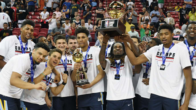 LAS VEGAS, NEVADA - JULY 15:  The Memphis Grizzlies celebrate the team's 95-92 victory over the Minnesota Timberwolves to win the championship game of the 2019 NBA Summer League at the Thomas & Mack Center on July 15, 2019 in Las Vegas, Nevada. NOTE TO USER: User expressly acknowledges and agrees that, by downloading and or using this photograph, User is consenting to the terms and conditions of the Getty Images License Agreement.  (Photo by Ethan Miller/Getty Images)