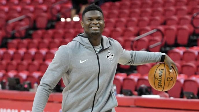 LAS VEGAS, NEVADA - JULY 14:  Zion Williamson #1 of the New Orleans Pelicans shoots during warmups before a semifinal game of the 2019 NBA Summer League against the Memphis Grizzlies at the Thomas & Mack Center on July 14, 2019 in Las Vegas, Nevada. NOTE TO USER: User expressly acknowledges and agrees that, by downloading and or using this photograph, User is consenting to the terms and conditions of the Getty Images License Agreement.  (Photo by Ethan Miller/Getty Images)