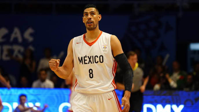 MEXICO CITY, MEXICO - JUNE 28: Gustavo Ayon of Mexico gestures during the match between Mexico and USA as part of the FIBA World Cup China 2019 Qualifiers at Gimnasio Juan de la Barrera on June 28, 2018 in Mexico City, Mexico. (Photo by Luis Licona/Getty Images)