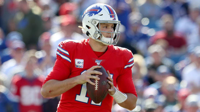 ORCHARD PARK, NY - OCTOBER 20: Josh Allen #17 of the Buffalo Bills holds the ball during the second quarter of an NFL game against the Miami Dolphins at New Era Field on October 20, 2019 in Orchard Park, New York. (Photo by Bryan M. Bennett/Getty Images)