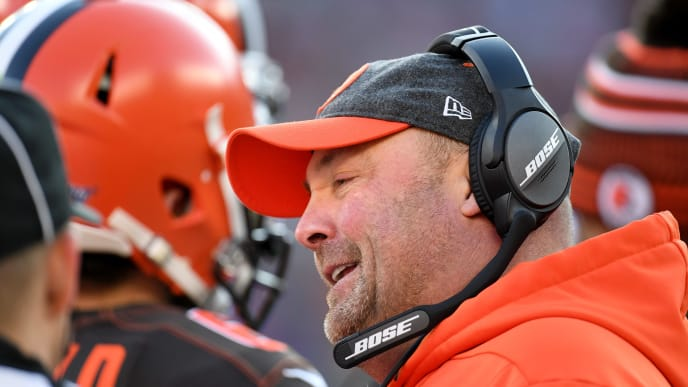 CLEVELAND, OHIO - NOVEMBER 24: Head coach Freddie Kitchens of the Cleveland Browns talks with an official during the second half against the Miami Dolphins at FirstEnergy Stadium on November 24, 2019 in Cleveland, Ohio. The Browns defeated the Dolphins 41-24. (Photo by Jason Miller/Getty Images)