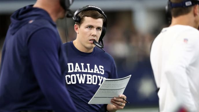 ARLINGTON, TEXAS - SEPTEMBER 22:  Offensive coordinator Kellen Moore of the Dallas Cowboys at AT&T Stadium on September 22, 2019 in Arlington, Texas. (Photo by Ronald Martinez/Getty Images)
