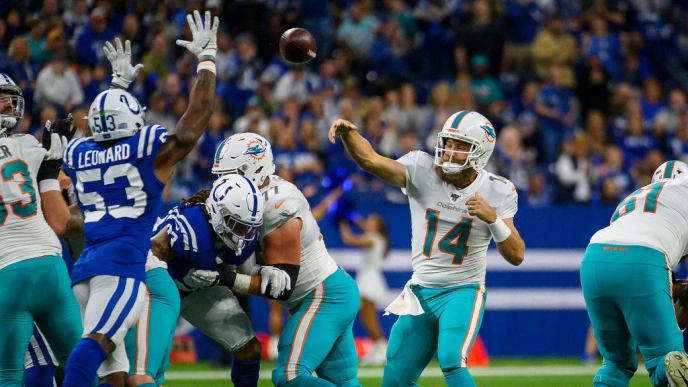 INDIANAPOLIS, IN - NOVEMBER 10: Ryan Fitzpatrick #14 of the Miami Dolphins passes the ball during the first quarter against the Indianapolis Colts at Lucas Oil Stadium on November 10, 2019 in Indianapolis, Indiana. (Photo by Bobby Ellis/Getty Images)