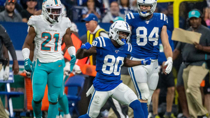INDIANAPOLIS, IN - NOVEMBER 10: Chester Rogers #80 of the Indianapolis Colts reacts after making a first-down catch during the fourth quarter against the Miami Dolphins at Lucas Oil Stadium on November 10, 2019 in Indianapolis, Indiana. (Photo by Bobby Ellis/Getty Images)