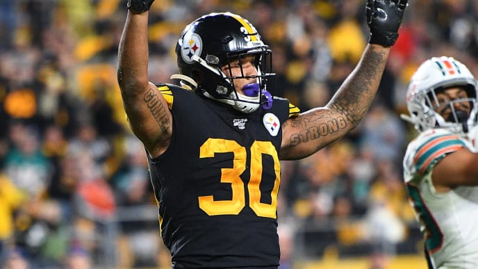 PITTSBURGH, PA - OCTOBER 28:  James Conner #30 of the Pittsburgh Steelers celebrates his fourth quarter touchdown against the Miami Dolphins at Heinz Field on October 28, 2019 in Pittsburgh, Pennsylvania. (Photo by Joe Sargent/Getty Images)