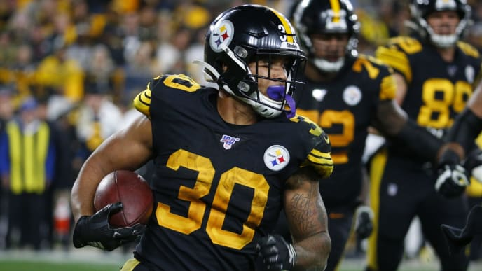 PITTSBURGH, PA - OCTOBER 28:  James Conner #30 of the Pittsburgh Steelers in action against the Miami Dolphins on October 28, 2019 at Heinz Field in Pittsburgh, Pennsylvania.  (Photo by Justin K. Aller/Getty Images)