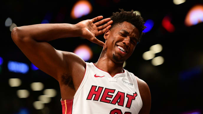 NEW YORK, NY - NOVEMBER 14: Hassan Whiteside #21 of the Miami Heat motions for the fans to get louder during the final moments of the game against Brooklyn Nets at Barclays Center on November 14, 2018 in the Brooklyn borough of New York City. The Heat won 120-107. (Photo by Sarah Stier/Getty Images)