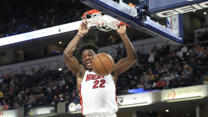 Miami Heat All-Star wing Jimmy Butler dunks against the Indiana Pacers