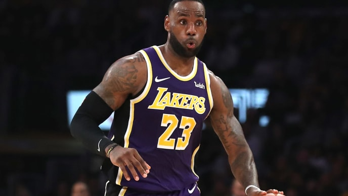LOS ANGELES, CALIFORNIA - NOVEMBER 08:  LeBron James #23 of the Los Angeles Lakers dribbles upcourt during the second half of a game  against the Miami Heat at Staples Center on November 08, 2019 in Los Angeles, California.  NOTE TO USER: User expressly acknowledges and agrees that, by downloading and/or using this photograph, user is consenting to the terms and conditions of the Getty Images License Agreement (Photo by Sean M. Haffey/Getty Images)