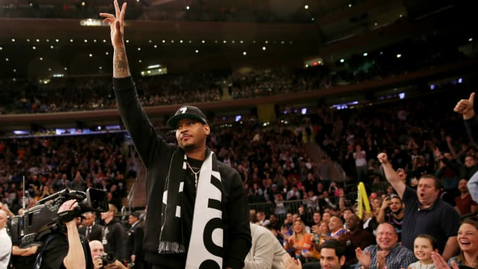 NEW YORK, NEW YORK - JANUARY 27:   Former New York Knicks player Carmelo Anthony waves to the fans in the first quarter against the Miami Heat at Madison Square Garden on January 27, 2019 in New York City.NOTE TO USER: User expressly acknowledges and agrees that, by downloading and or using this photograph, User is consenting to the terms and conditions of the Getty Images License Agreement.  (Photo by Elsa/Getty Images)
