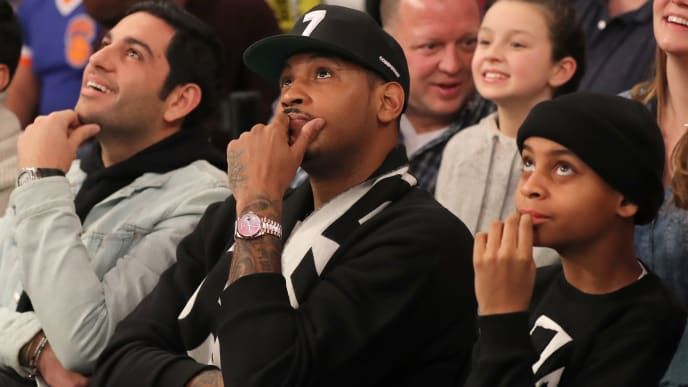 NEW YORK, NEW YORK - JANUARY 27:   Former New York Knicks Carmelo Anthony attends the game between the New York Knicks and the Miami Heat at Madison Square Garden on January 27, 2019 in New York City.NOTE TO USER: User expressly acknowledges and agrees that, by downloading and or using this photograph, User is consenting to the terms and conditions of the Getty Images License Agreement.  (Photo by Elsa/Getty Images)