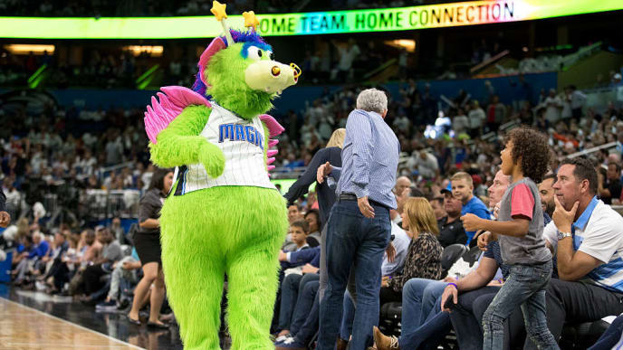 ORLANDO, FL - OCTOBER 26:  Orlando Magic mascot Stuff the Magic Dragon during a break on opening night agains the Miami Heat on October 26, 2016 at Amway Center in Orlando, Florida. NOTE TO USER: User expressly acknowledges and agrees that, by downloading and or using this photograph, User is consenting to the terms and conditions of the Getty Images License Agreement. (Photo by Manuela Davies/Getty Images)
