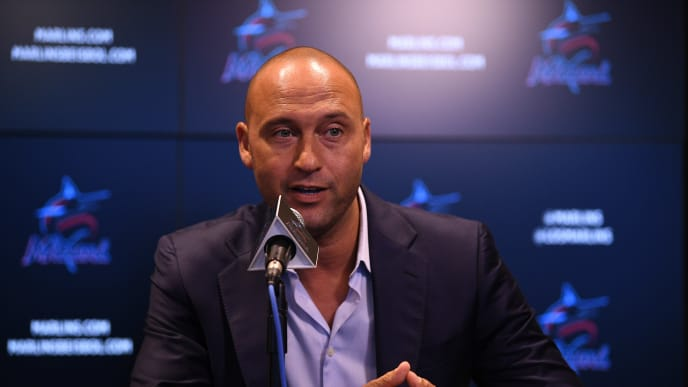 MIAMI, FLORIDA - SEPTEMBER 20: Derek Jeter CEO of the Miami Marlins speaks during a press conference at Marlins Park on September 20, 2019 in Miami, Florida. (Photo by Mark Brown/Getty Images)