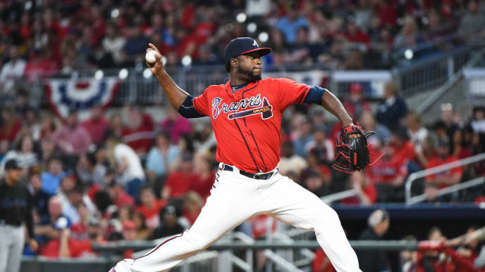 ATLANTA, GEORGIA - APRIL 05: Arodys Vizcaino #38 of the Atlanta Braves pitches during the game against the Miami Marlins at SunTrust Park on April 05, 2019 in Atlanta, Georgia. (Photo by Logan Riely/Getty Images)